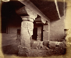 View of right side of porch and entrance to Buddhist Vihara, Cave XXIV, Ajanta